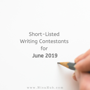 Short-Listed Writing Contestants for June 2019: Vote NOW! (Closed)